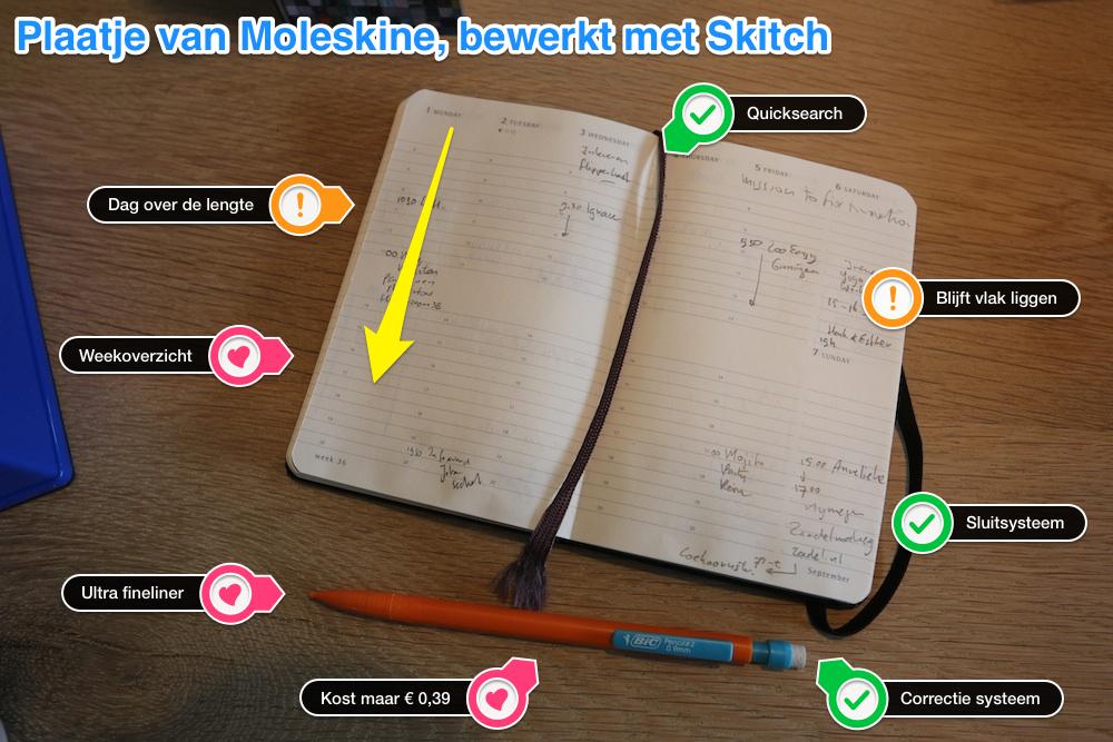 De Vrije Adviseur gebruikt een Moleskine Agenda met Bic potlood